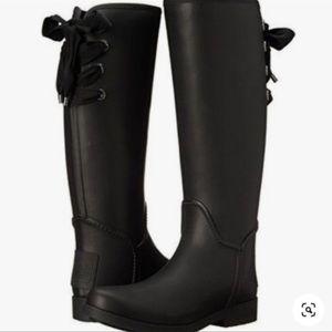 COACH tristee black waterproof tall boots sz 6M